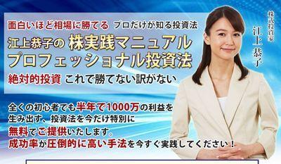 悪徳か?江上恭子は実在しない。江上恭子の株実践ファイル プロフェッショナル投資法は存在しない?